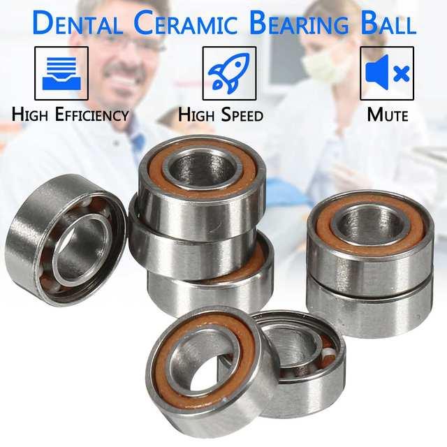 10 piezas 6mm de alta velocidad de la pieza de mano rodamiento de rodamientos de cerámica Dental de cerámica de cojinete de aire de la pieza de mano herramientas de dentista