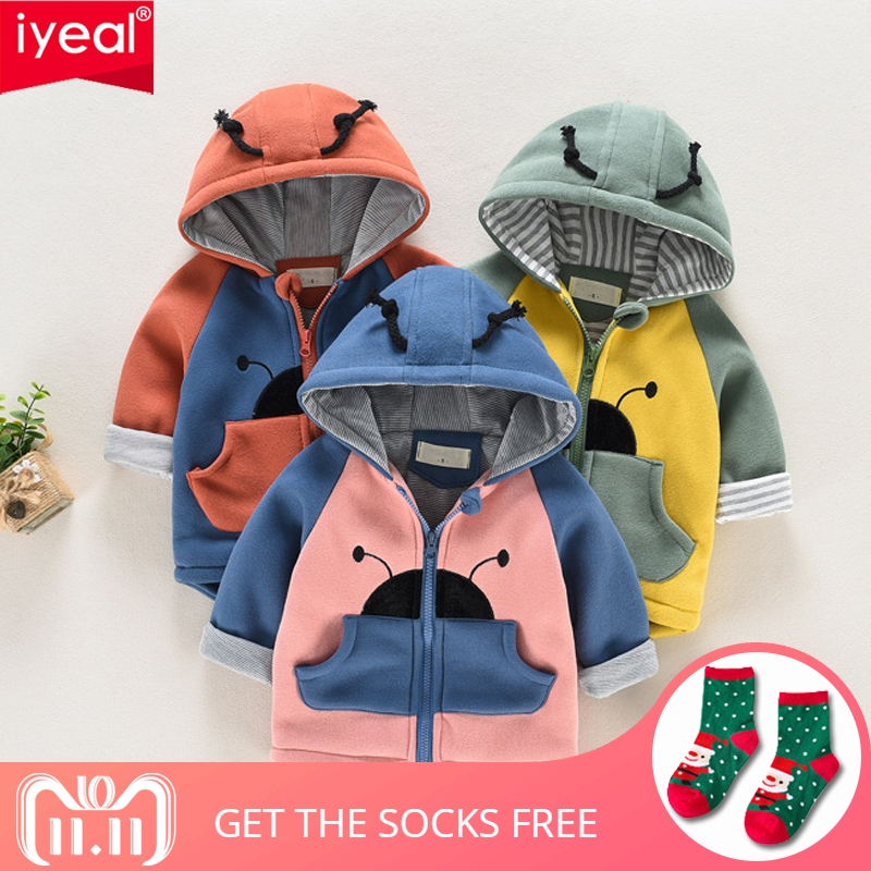 IYEAL Autumn Winter Baby Coat Boys Girls Cotton Cute Ladybug Hooded Outerwear Casual Kids Jacket Children Clothing Sports Suit цена 2017