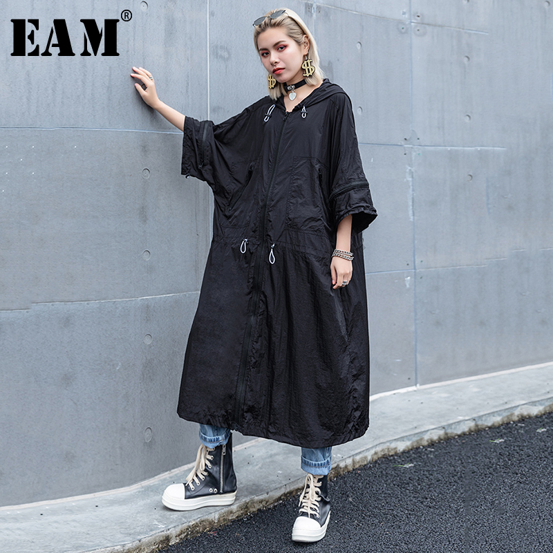 [EAM] 2019 New Spring Summer Hooded Long Sleeve Black Loose Big Size Thin Drawstring Windbreaker Women   Trench   Fashion Tide JS982