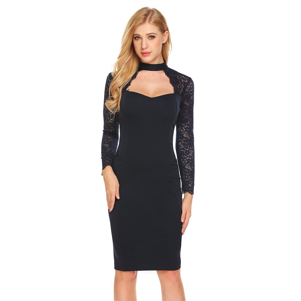 AL'OFA Women Sexy Party Pencil   Dress   Stand Collar Bodycon   Cocktail     Dresses   Long Sleeve Cut Out Lace Patchwork Homecoming   Dress