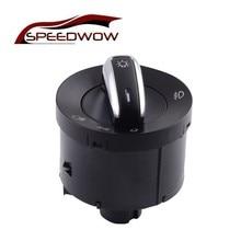 SPEEDWOW Chrome Headling Fog Lamp Control Switch For VW Caddy III Touran Jetta Golf V VI 5 6 Jetta Passat B6 Rabbit 3C8 941 431B все цены