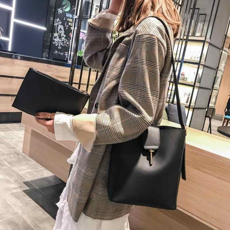 2pcs/set Women Messenger Shoulder Bags Brand Designer Girls Shopping Messenger Bags PU Leather Solid Clutch Crossbody Bucket Bag