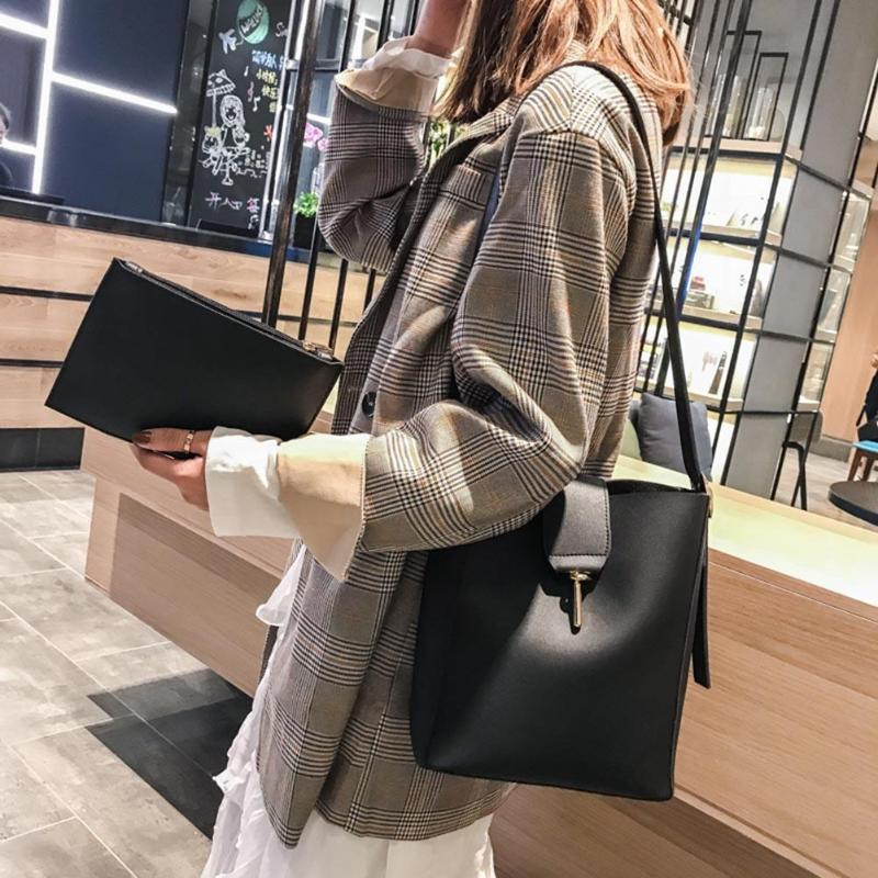2Pcs/Set Women Messenger Shoulder Bags Designer Girls Shopping Messenger Bags PU Leather Solid Clutch Crossbody Bucket Bag