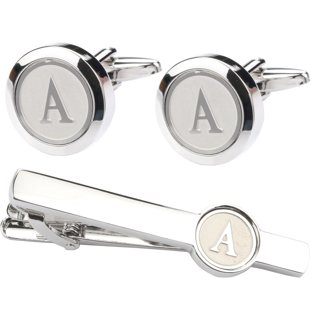 Cufflinks For Silver A-Z Letter Cufflinks Tie Clip Set Shirts Mens Business Lawyer Luxury Cuff Links Wedding Decorations Grooms(China)
