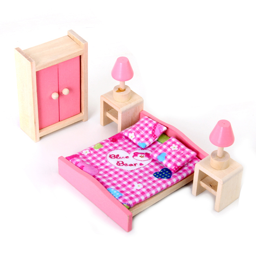 Kids Bedroom Furniture Kids Wooden Toys Online: 1:12 Scale Wooden Dollhouse Furniture Bedroom Bed Pillow