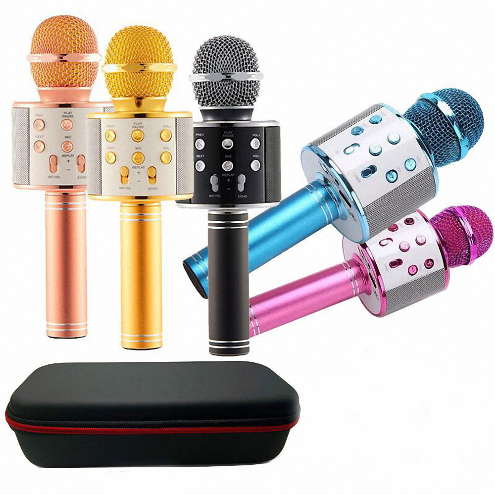 Ws858 Professional Wireless Karaoke Microphone Speaker Condenser Microfono With Bag Bluetooth Radio Studio Record Mic Pk Ws-858(China)