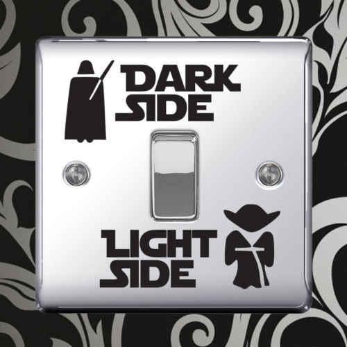 Star Wars lumière noire interrupteur latéral panneau autocollants vinyle décalcomanie autocollant chambre enfant Lightswitch mur