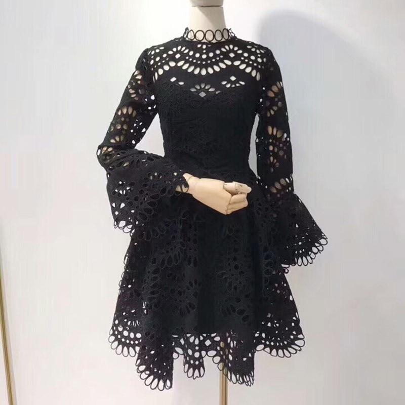 white Haute 2019 Automne Mode Asymétrique Féminine Mini Dentelle Taille Q983 Manches Ruches Flare Nouvelle Sexy Black Robes Dress Robe Grande Dress Partie qRxx7Sz