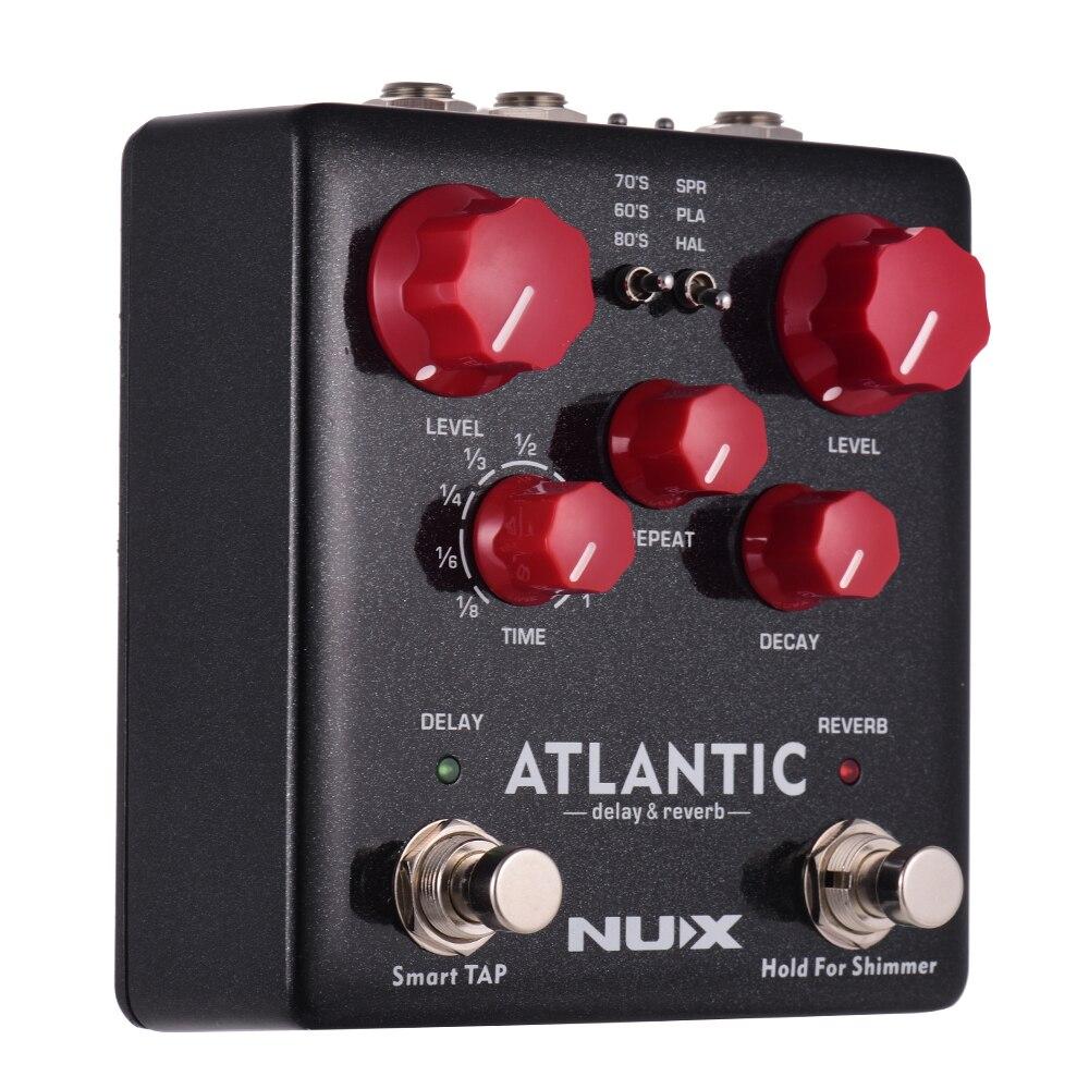 NUX ATLANTIC Delay Reverb Guitar Effect Pedal Dual Footswitch 3 Delay Effects 3 Reverb Effects Supports