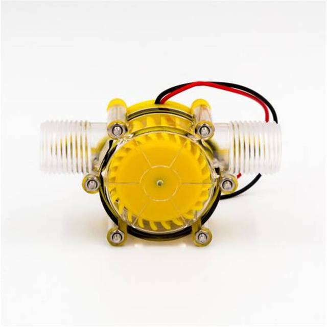 Yellow Translucent 12V/10W DC Water Flow Pump Generator Hydroelectric Micro Hydro Generator Tap Water Flow Hydraulic DIY