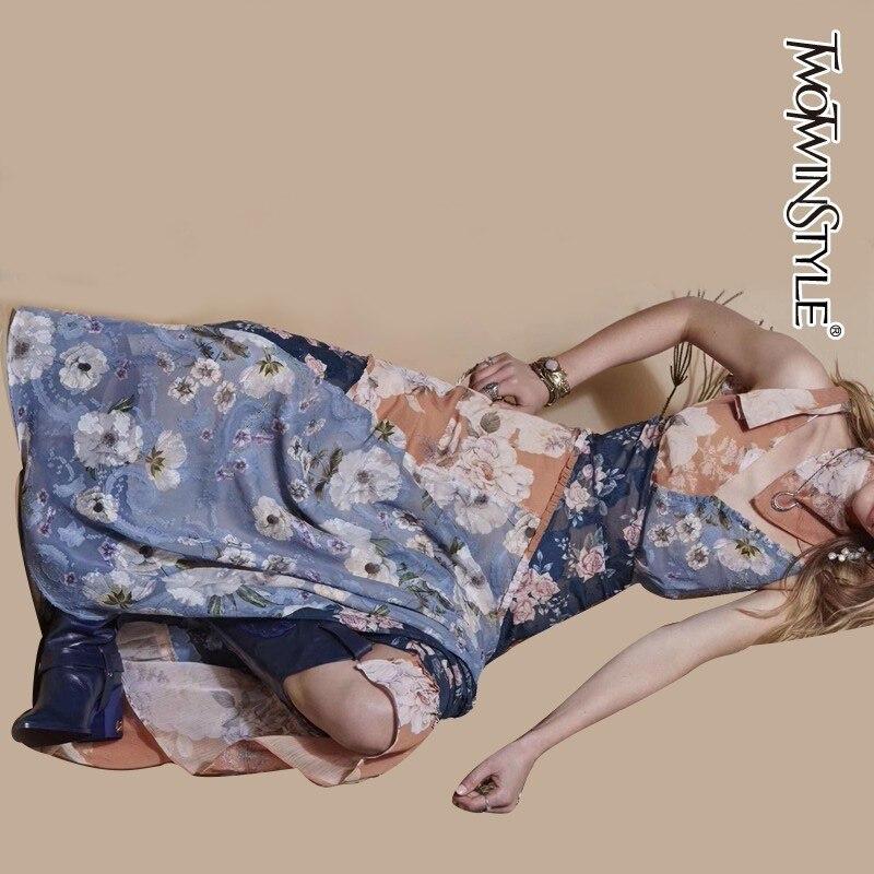 TWOTWINSTYLE Irregular Floral Print Women Dress High Waist Off Shoulder Sleeveless Mid Female Dresses Spring 2019