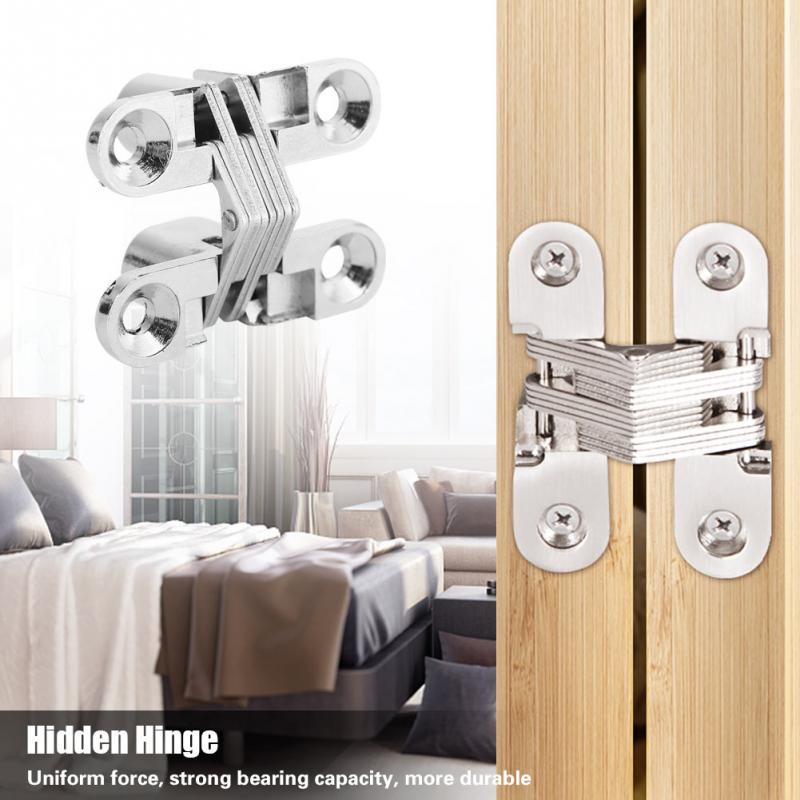 2pcs Invisible Cross Hinge Hidden Concealed Cupboard Cabinet Door Wooden Boxes