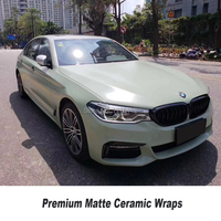 Highest quality matte ceramics Khaki Vinyl Wrap solvent based Premium low initial tack adhesive Quality assurance for 3 years