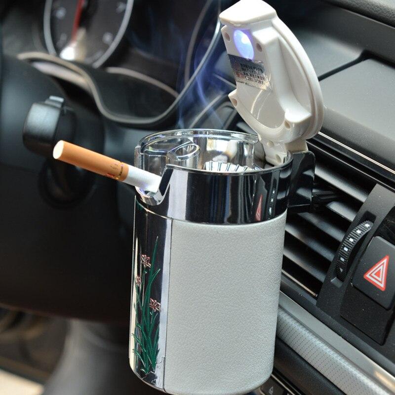 Car Portable Cigar Cigarette Ashtray Smokeless Carbon Fiber Car Ashtray With Led Light