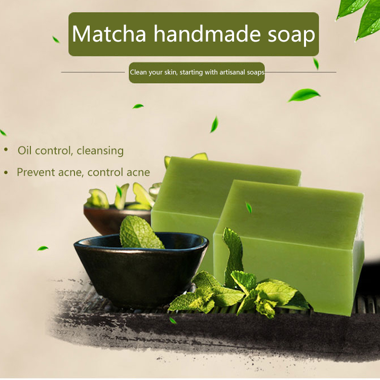 Matcha Handmade Soap 100g Oil Control Hand Made Soap Acne Treatment Facial Cleanser Whitening Moisturizing