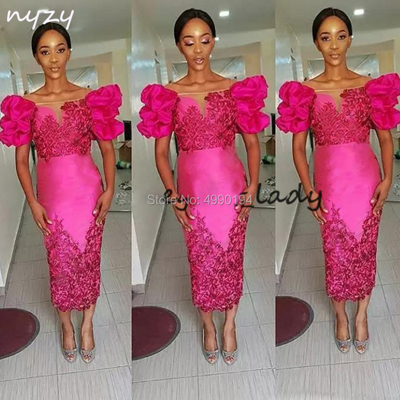 Fuchsia African   Cocktail     Dress   2019 Elegant Tea Length Lace Appliques Party Gown Formal   Dress   Evening Homecoming NYZY C10