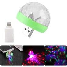 Мини USB светодиодные фонари для вечеринки портативный хрустальный магический шар для дома вечерние караоке украшения Красочный сценический светодиодный диско-свет для Iphone