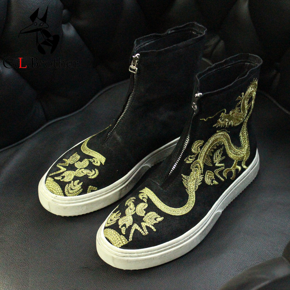 Leisure Style Dragon Print Embroidered Suede Leather Short Boots Black Round Toe Short Ankle Booties Vintage Totem Boots ethnic style totem print shirred waist dress