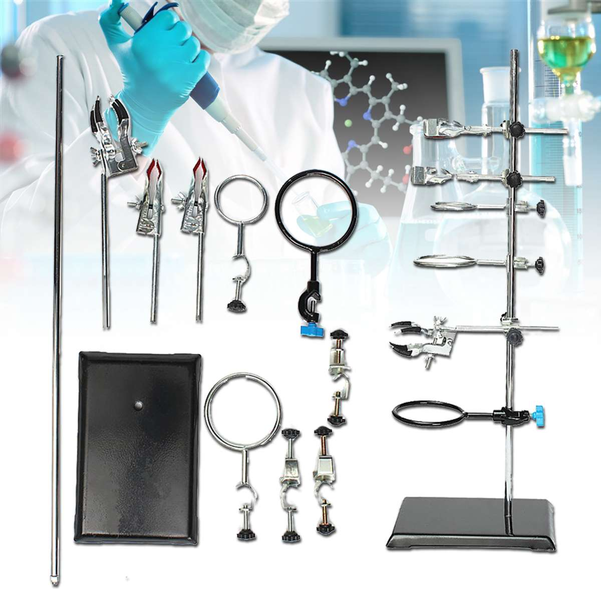 Laboratory Stands Support And Laboratory Clamp Lab Clips Flask Clamp Condenser Clamp Stands 600mm School Laboratory Supplies