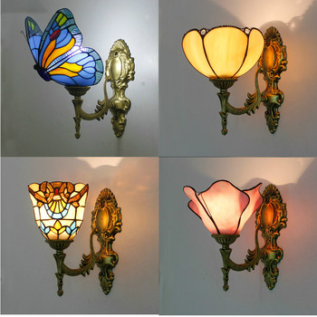 Artpad European Retro Up Down Stained Glass Butterfly Wall Lights for Bedroom Bedside Corridor Mirror Front E27 LED Turkish Lamp american retro village wall lamp e27 holder glass lampshade crystal bell style bedroom bedside lamp balcony corridor lighting