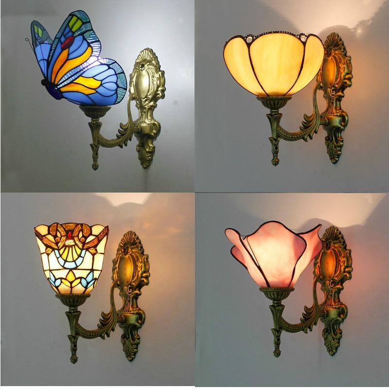 artpad retro europeu para cima para baixo vitrais borboleta luzes de parede para o quarto cabeceira