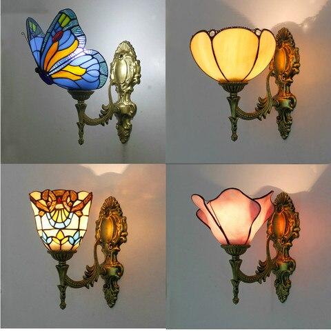 artpad retro europeu para cima para baixo vitrais borboleta luzes de parede para o quarto