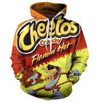 3D print Flamin Hot Cheetos Hoodie Letter Print Hoody Long Sleeve PulloVer Casual All Over Printed Tracksuit Hooded Sweatshirts