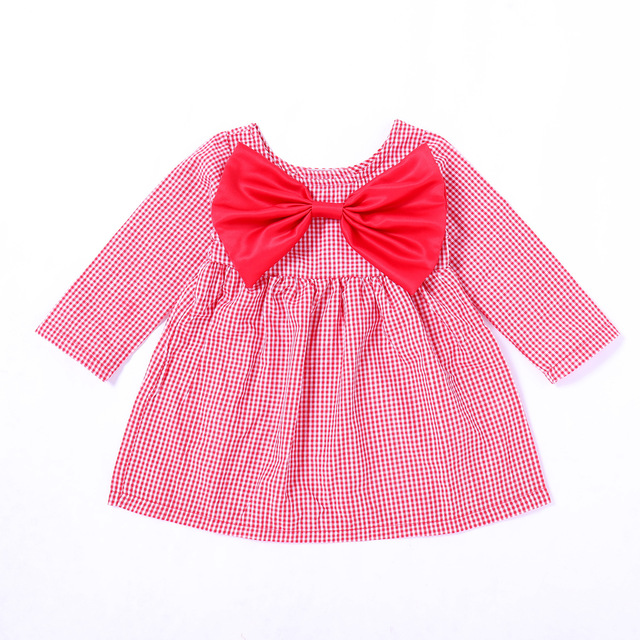 Fairy Baby Toddler Baby Girls Long Sleeve Outfit Red Grid