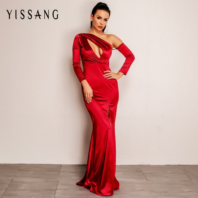 Detail Feedback Questions about Yissang 2018 Sexy Dress Autumn Backless Long  Sleeve Maxi Dress Women Asymmetrical Neck Elegant Party Dresses Red Vestido  on ... 4874055d741d