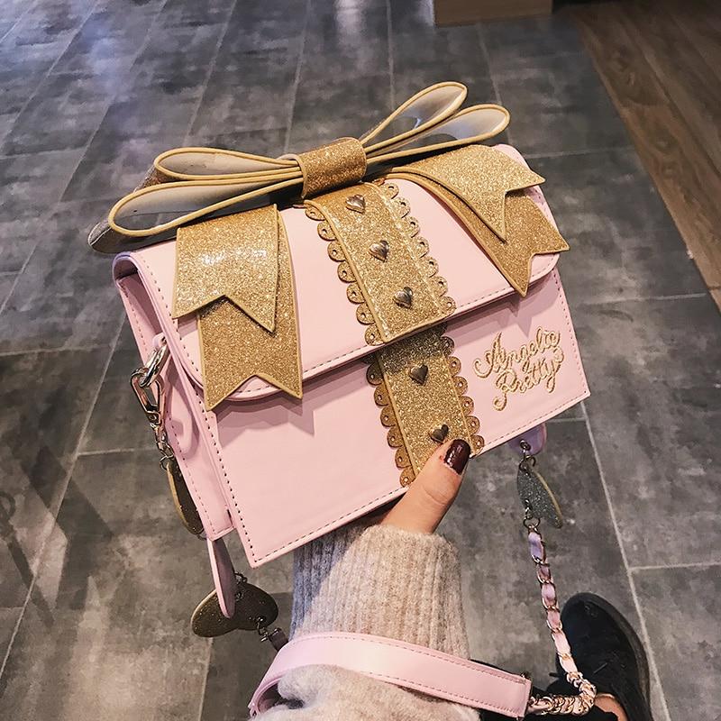 Ita Fashion Cute Bow Shoulder Bags Women Sweet Red Handbag Famous Brand Designer Girl Leather Shoulder Bag Lolita Kawaii Clutch