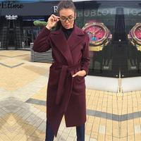 FANALA 2019 Abrigos Mujer Invierno Woman Coat With Belt Woolen Medium long Notched Collar Manteau Femme Hiver Parka Wool Coat