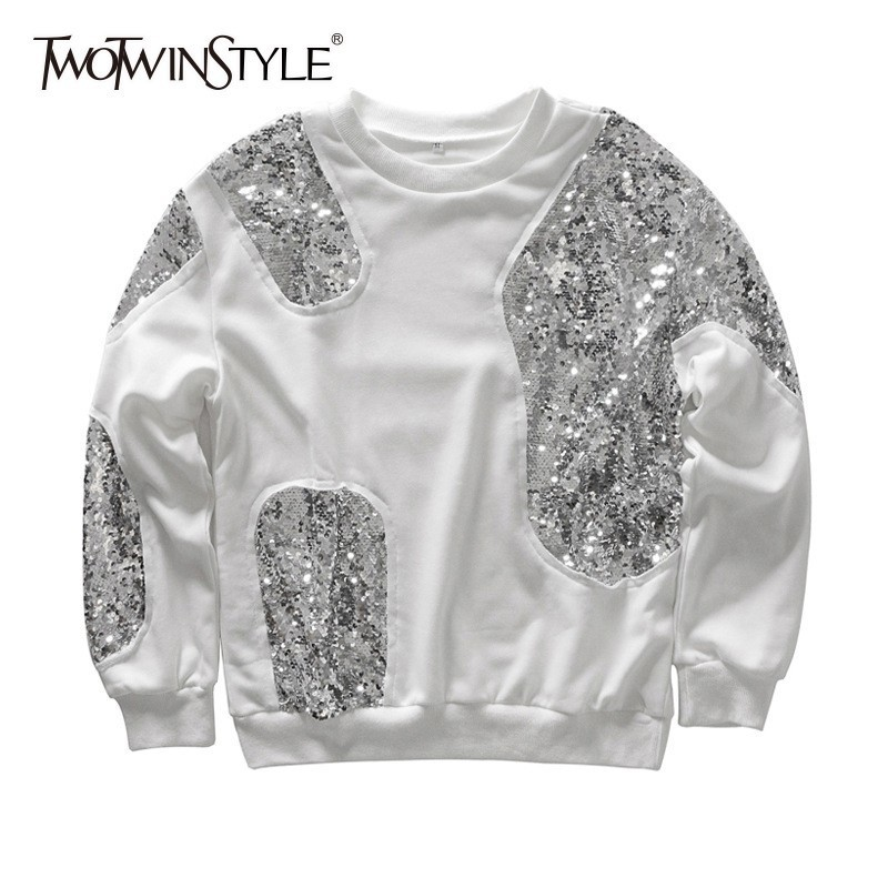 TWOTWINSTYLE Patchwork Sequins Sweatshirt For Women O Neck Long Sleeve Pullover Tops Female Casual Fashion 2020 Autumn Tide