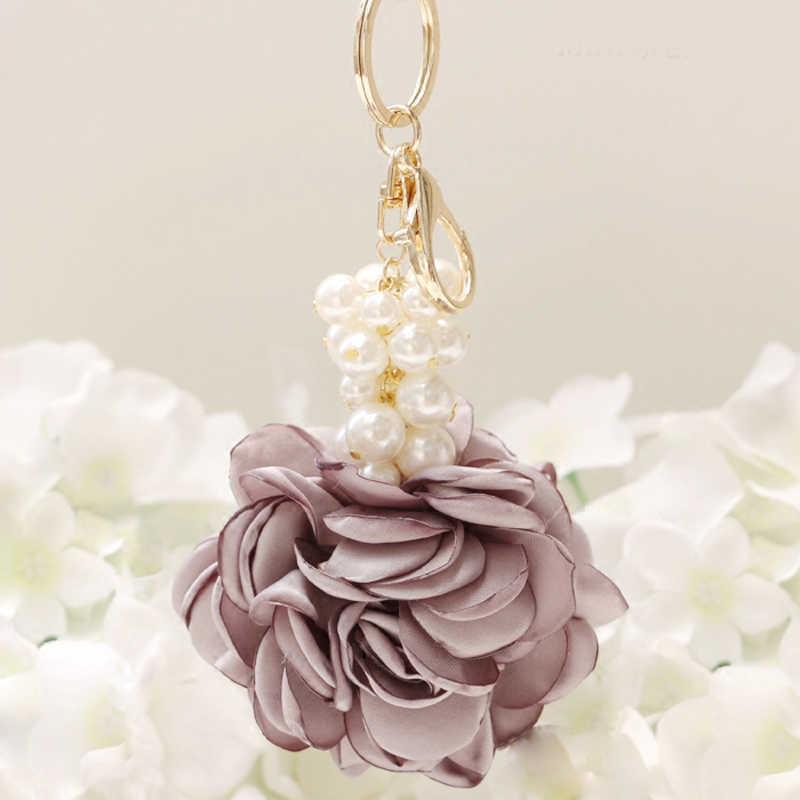 Nova forma de rosa pano flor bola chaveiro chaveiro para as mulheres saco pérola carro pingente jóias presentes trinket chaveiro eh400