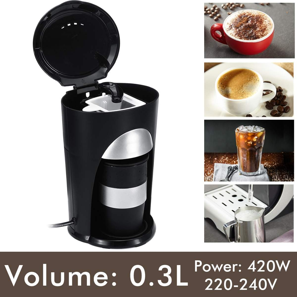 Automatic Coffee Maker Single Cup Drip Coffee Pot Small Coffee Machine With Travel Cup Automatic Power Off Homezest CM 901
