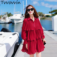 TVVOVVIN Korean 2019 Lantern Sleeve Cascading Ruffle Women Chiffon Dress Spring Summer Above Knee Loose Clothes L846