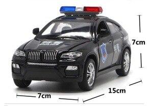 Image 2 - Vehículo de juguete de BM W X6 de alta simulación para niños, juguete de aleación de Metal fundido a presión, coche de policía con sonido y luz, modelo de juguete para niños, 1/32