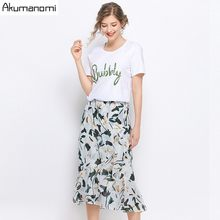 2 Piece Set O-neck White Cotton Letter Short T-shirt Floral Skirt Summer Two Piece Set Plus Size Card Pack Ensemble 2 Pièces(China)