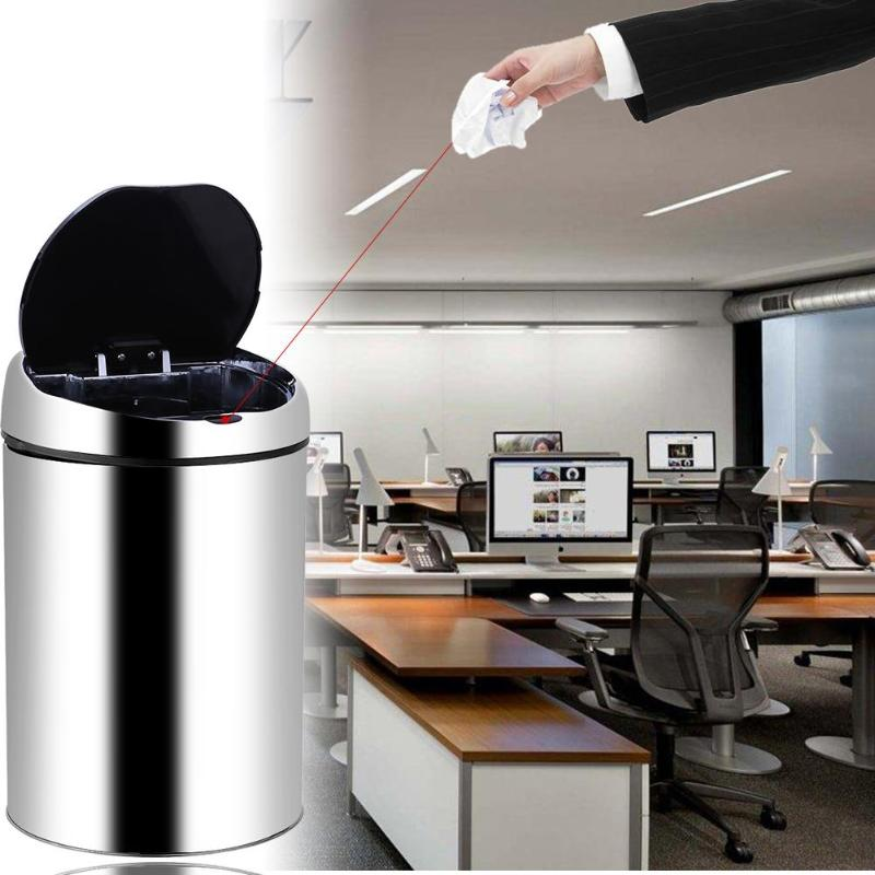 3-8L cylindrique automatique poubelle USB Charge en acier inoxydable Auto intelligent capteur déchets poubelle poubelle cuisine poubelle