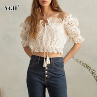 VGH Spring Casual Short Length Women's Shirt Fashion New 2019 Blouse Female Slash Neck Off Shoulder Lace Hollow Out Half Sleeve