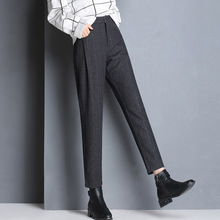 Shuchan 60% Woolen Trousers For Women Full Length Harem Pants Zipper Fly 2018 Winter Warm Womens Clothing 862