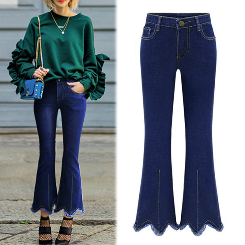 2018 Jeans For Women Black Jeans High Waist Jeans Woman High Elastic Plus Size Stretch Jeans Female Washed Denim Skinny Bell Bot