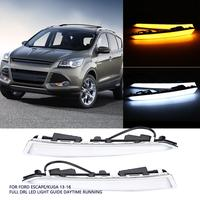 1Pair Car Daytime Running Light Turn Signal Dual DRL LED Lights for Ford Escape/Kuga 2013 2014 2015 2016 Car Styling