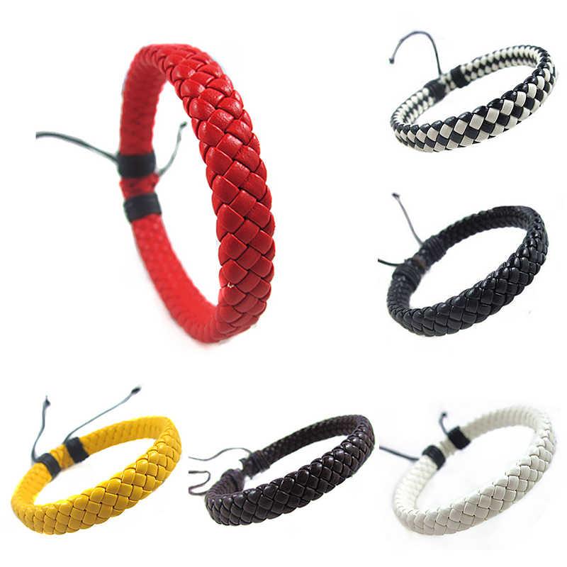 Corde hommes tissé à la main Bracelet de mode Bracelet surfeur multicolore manchette réglable 1 pièce Simple en cuir unisexe