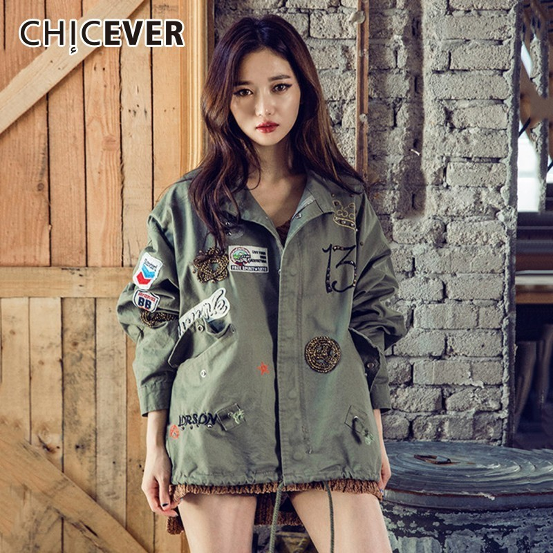CHICEVER Print Embroidery   Trench   Coat For Women's Windbreaker Lapel Long Sleeve Rivet Loose   Trench   Female Korean Fashion Tide