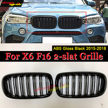 1 Pair X6-Series F16 Front Grille ABSl Gloss Black For M-Style Mesh Grills X6 2 Line Slats Kidney 15+