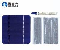 40pcs 2.8W SOLAR Cell monocrystalline Silicon Photovoltaic mono 100W 112W 125*125MM strip pen wire wire flux DIY kit