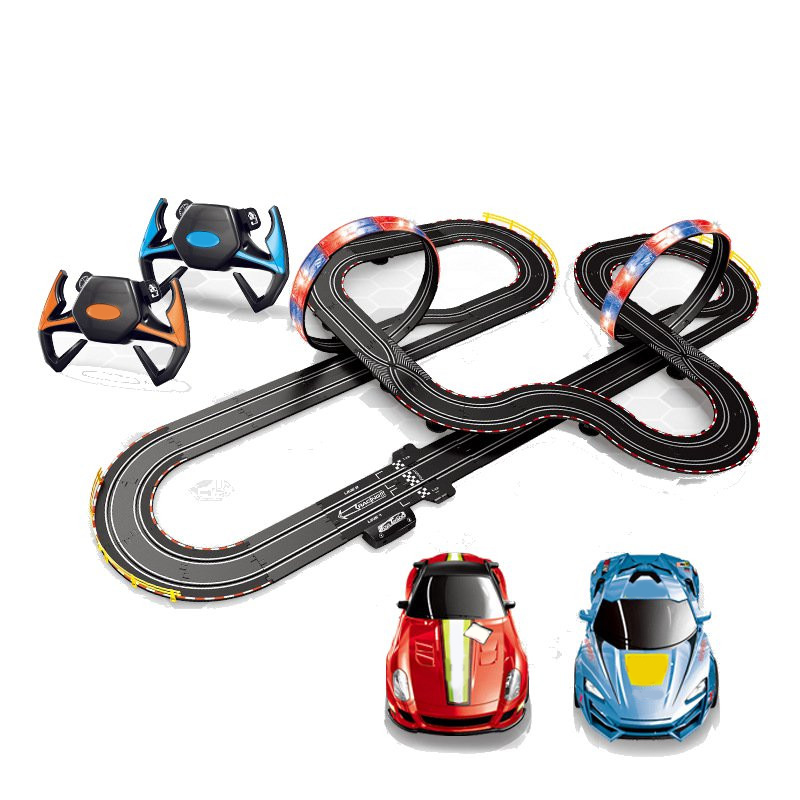 US $101 81 49% OFF|Large Remote Control Racing Track Toy Set Loops Electric  Slot Cars Race Stunt Loop 2 Controllers Children Remote Control Car Toy-in