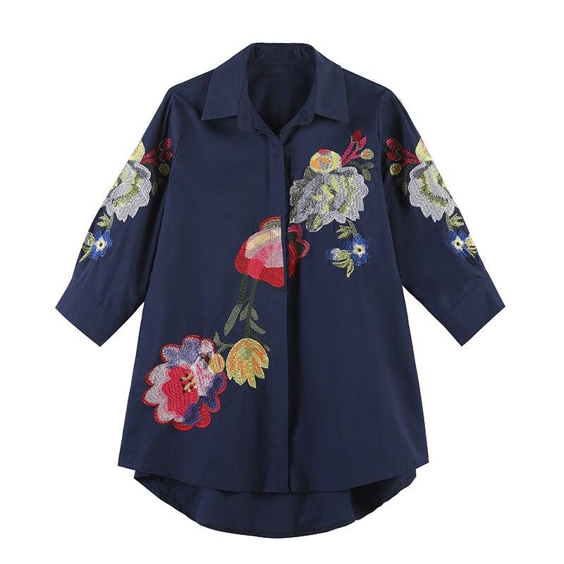 2019 New Spring Women   Shirts   Lantern Sleeve After Shortfore Long   Blouse     Shirt   White Navy 5650