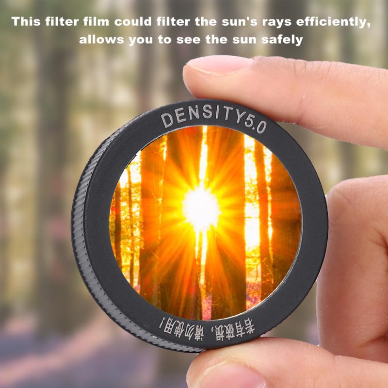 50mm professionnel astronomique télescope objectif objectif Film capuchon filtre solaire 5.0 lentille filtre caméra filtre filtre photo