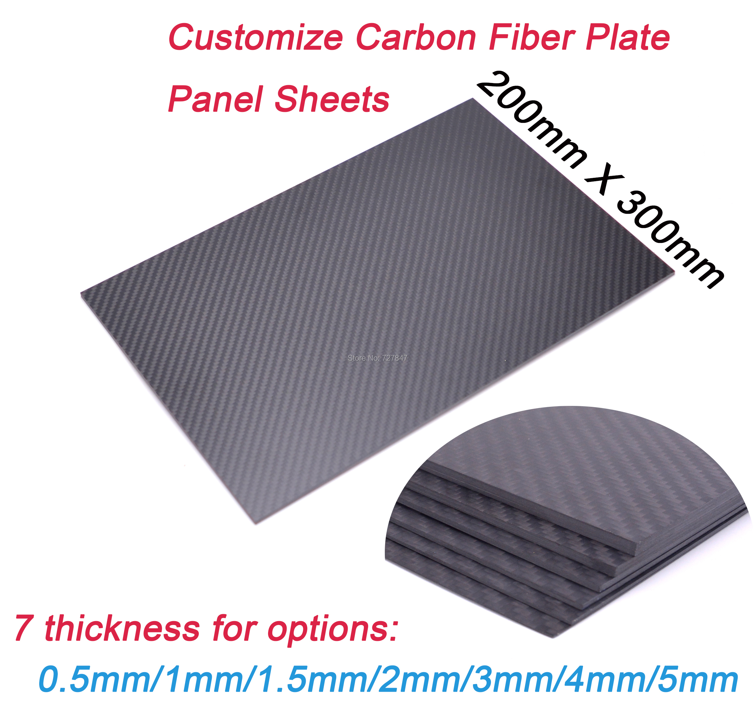 200mm X 300mm X 0.5mm 1mm 1.5mm 2mm 3mm <font><b>4mm</b></font> 5mm 3K <font><b>Carbon</b></font> Plate Panel <font><b>Sheets</b></font> High Composite Hardness Material <font><b>Carbon</b></font> <font><b>Fiber</b></font> Board image